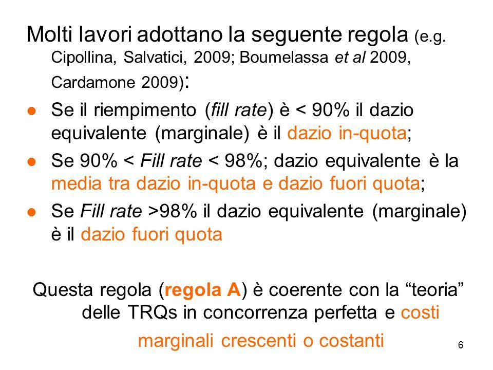7 Qui si considera anche unaltra ipotesi (regola B): l La produzione, commercializzazione ed esportazione (del riso) spesso è caratterizzata da economie di scala (costi fissi !) l Con economie di scala e assenza di barriere allentrata (ad es.