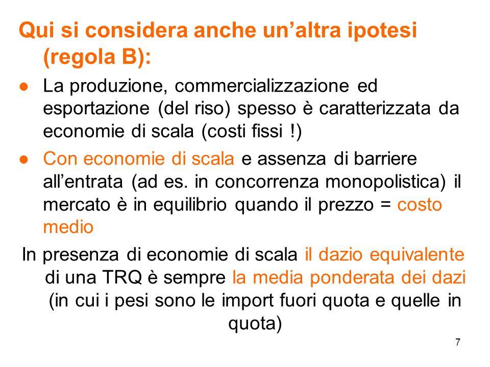 8 Il costo medio delle imprese in presenza di una TRQ è: ( t: dazio in quota, T:dazio fuori quota, Q*: quota; CF:costi fissi, cQ: costi variabili; P : prezzo di equilibrio ) l Il valore del dazio equivalente è