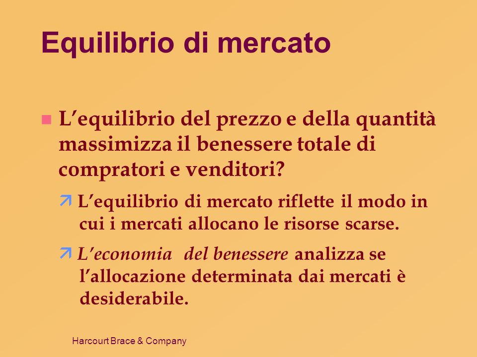 Harcourt Brace & Company Equilibrio di mercato n Lequilibrio del prezzo e della quantità massimizza il benessere totale di compratori e venditori? Leq
