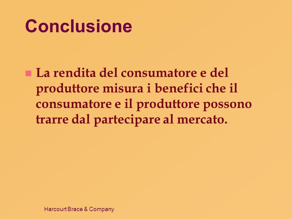 Harcourt Brace & Company Conclusione n La rendita del consumatore e del produttore misura i benefici che il consumatore e il produttore possono trarre