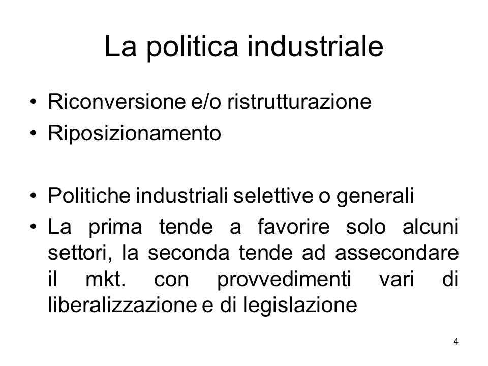 4 La politica industriale Riconversione e/o ristrutturazione Riposizionamento Politiche industriali selettive o generali La prima tende a favorire sol
