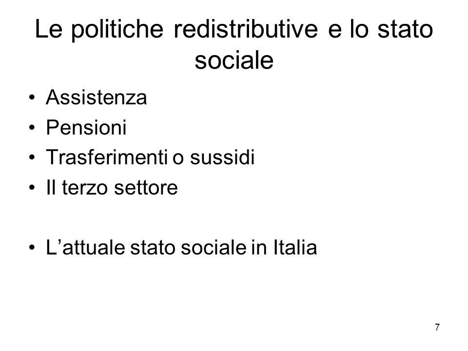 7 Le politiche redistributive e lo stato sociale Assistenza Pensioni Trasferimenti o sussidi Il terzo settore Lattuale stato sociale in Italia