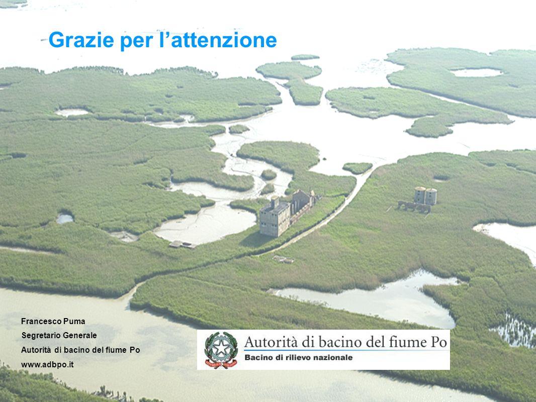 Grazie per lattenzione Francesco Puma Segretario Generale Autorità di bacino del fiume Po www.adbpo.it