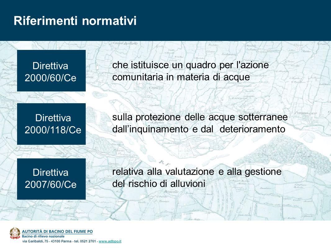 via Garibaldi, 75 - 43100 Parma - tel. 0521 2761 - www.adbpo.itwww.adbpo.it Riferimenti normativi Direttiva 2000/60/Ce Direttiva 2000/118/Ce Direttiva