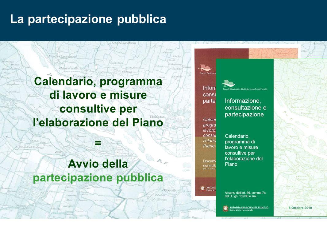 La partecipazione pubblica Calendario, programma di lavoro e misure consultive per lelaborazione del Piano = Avvio della partecipazione pubblica
