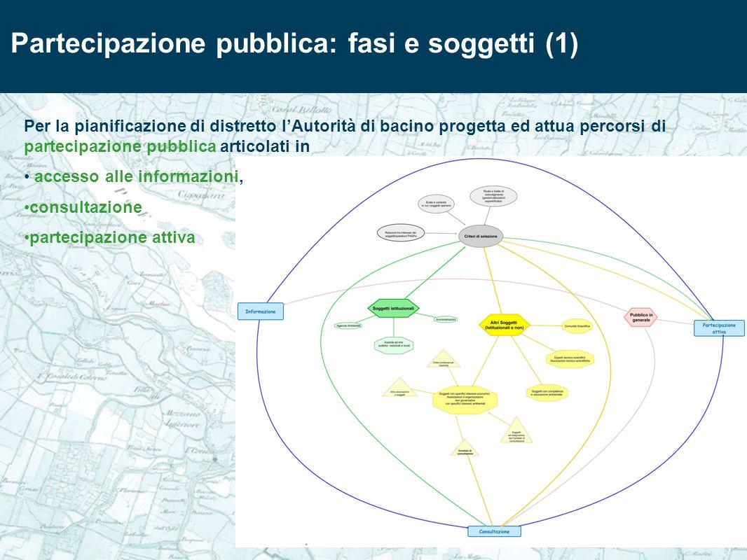 Per la pianificazione di distretto lAutorità di bacino progetta ed attua percorsi di partecipazione pubblica articolati in accesso alle informazioni,
