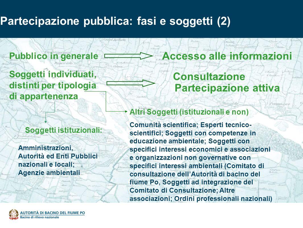 Partecipazione pubblica: fasi e soggetti (2) Soggetti istituzionali: Amministrazioni, Autorità ed Enti Pubblici nazionali e locali; Agenzie ambientali