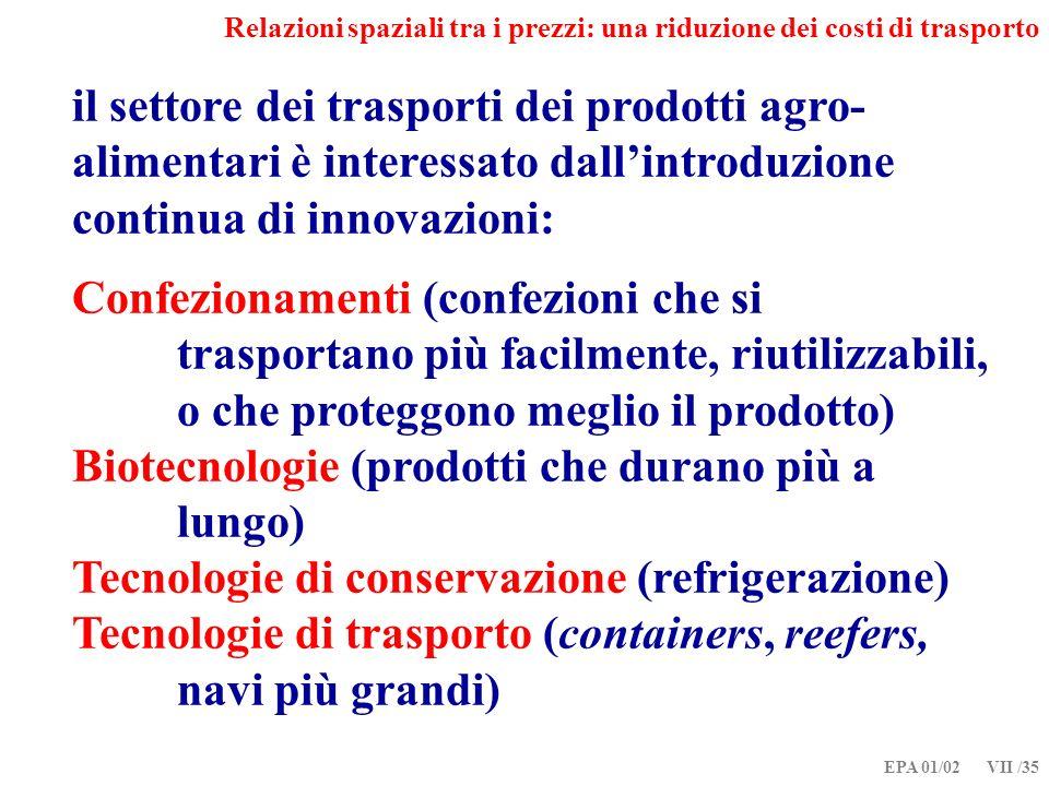 EPA 01/02 VII /35 Relazioni spaziali tra i prezzi: una riduzione dei costi di trasporto il settore dei trasporti dei prodotti agro- alimentari è interessato dallintroduzione continua di innovazioni: Confezionamenti (confezioni che si trasportano più facilmente, riutilizzabili, o che proteggono meglio il prodotto) Biotecnologie (prodotti che durano più a lungo) Tecnologie di conservazione (refrigerazione) Tecnologie di trasporto (containers, reefers, navi più grandi)