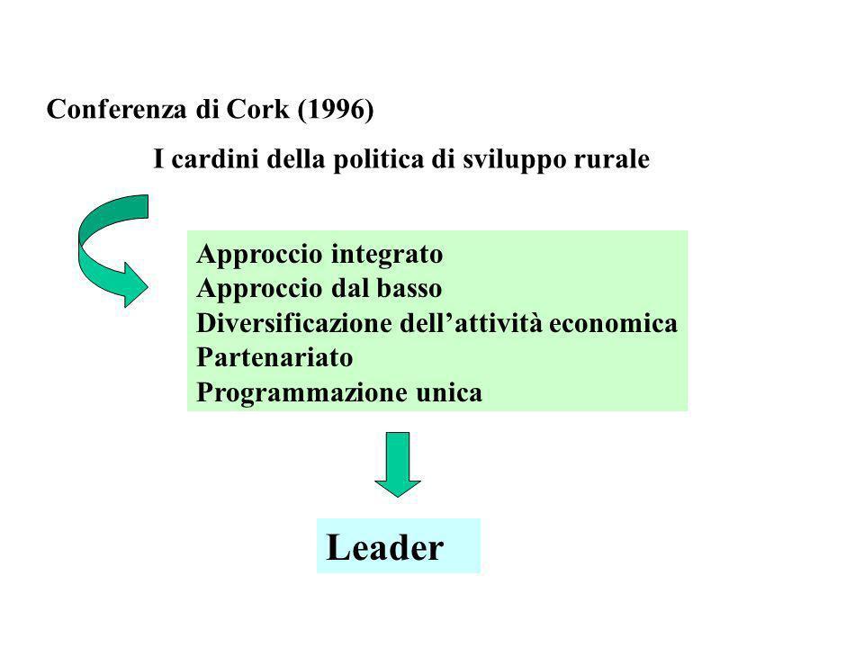 Conferenza di Cork (1996) I cardini della politica di sviluppo rurale Approccio integrato Approccio dal basso Diversificazione dellattività economica