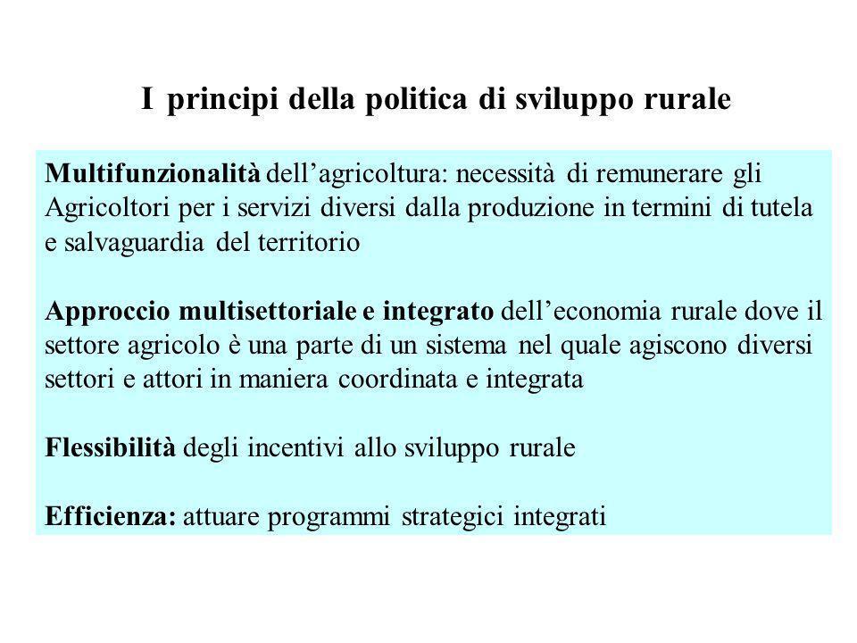 I principi della politica di sviluppo rurale Multifunzionalità dellagricoltura: necessità di remunerare gli Agricoltori per i servizi diversi dalla pr