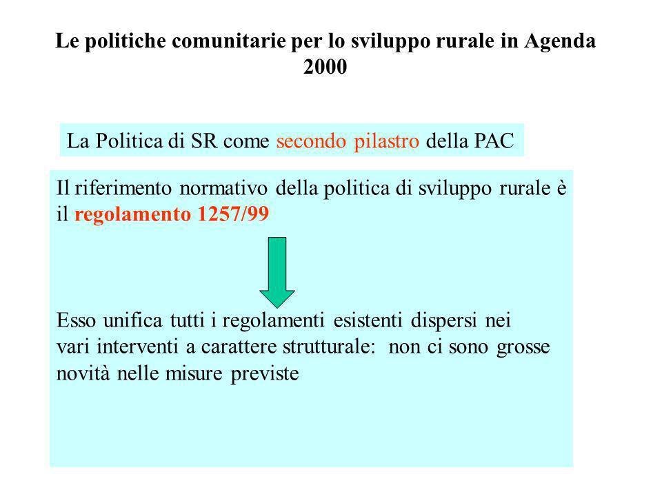 Le politiche comunitarie per lo sviluppo rurale in Agenda 2000 Il riferimento normativo della politica di sviluppo rurale è il regolamento 1257/99 Ess