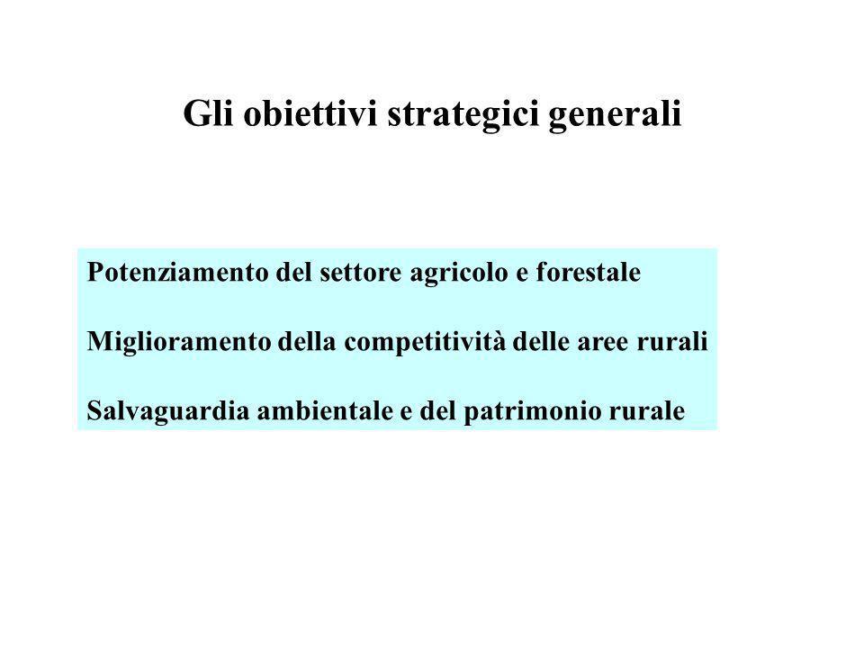 Gli obiettivi strategici generali Potenziamento del settore agricolo e forestale Miglioramento della competitività delle aree rurali Salvaguardia ambi