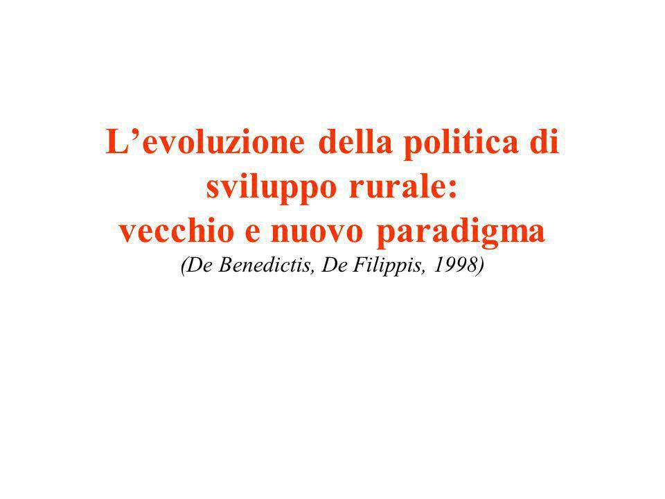 Levoluzione della politica di sviluppo rurale: vecchio e nuovo paradigma (De Benedictis, De Filippis, 1998)
