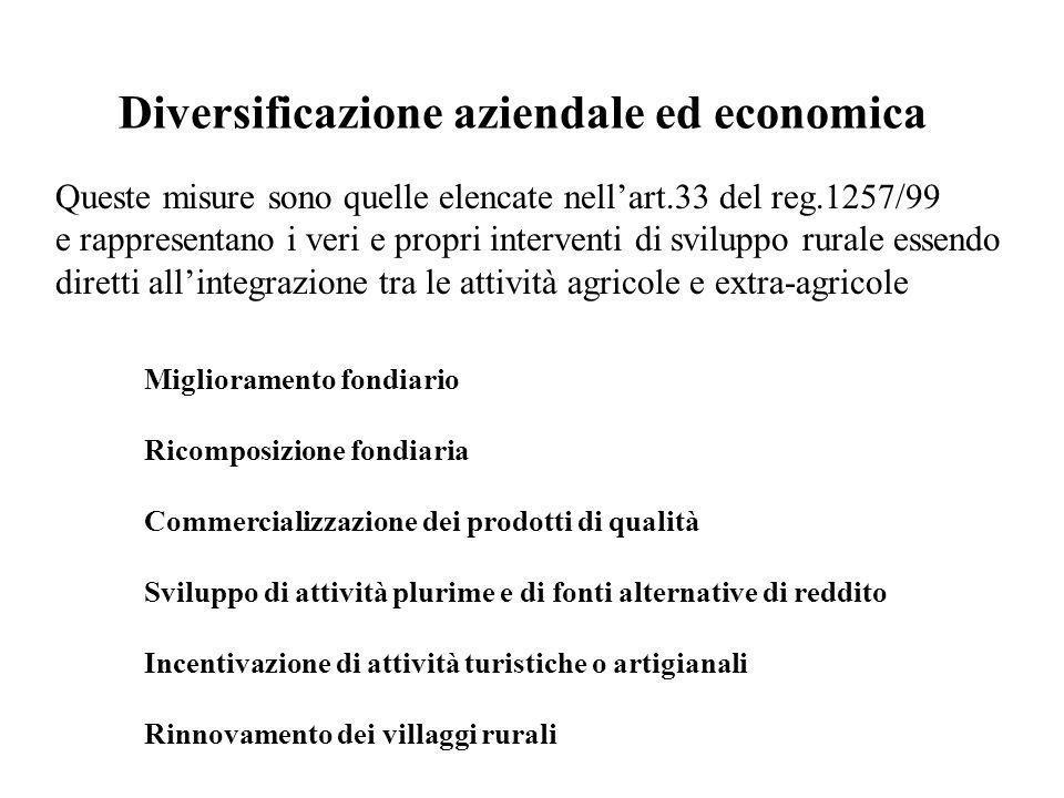 Diversificazione aziendale ed economica Queste misure sono quelle elencate nellart.33 del reg.1257/99 e rappresentano i veri e propri interventi di sv