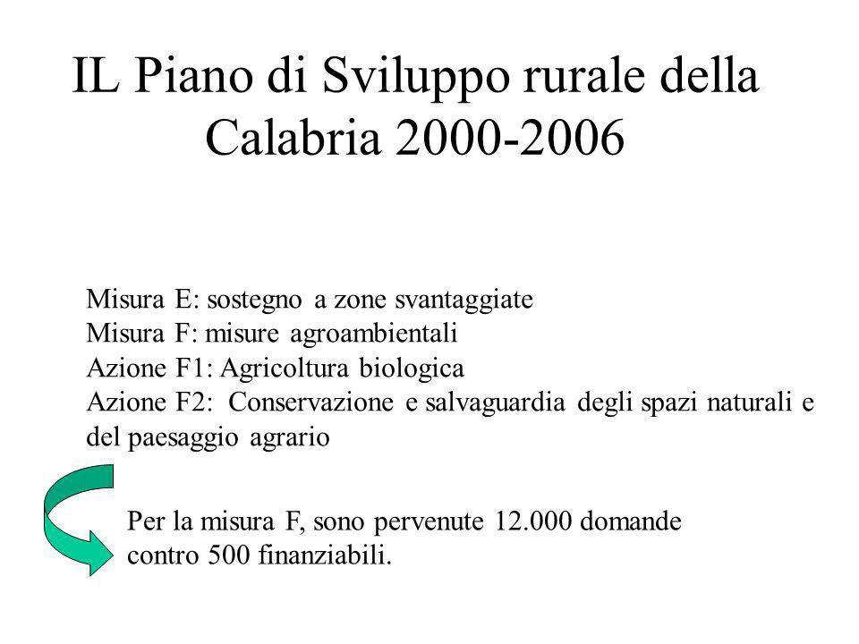 IL Piano di Sviluppo rurale della Calabria 2000-2006 Misura E: sostegno a zone svantaggiate Misura F: misure agroambientali Azione F1: Agricoltura bio