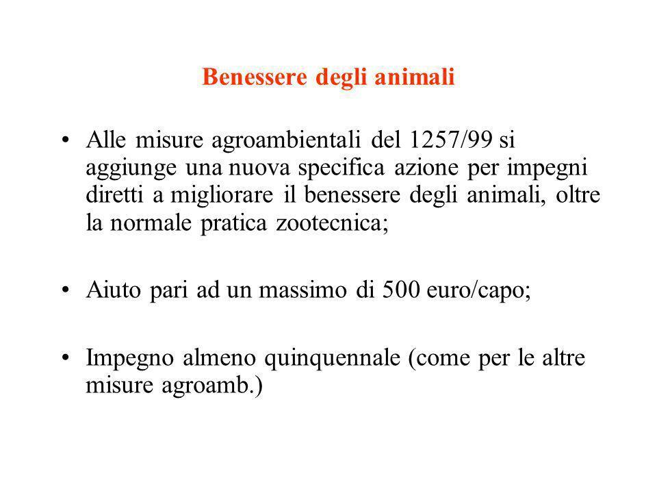 Benessere degli animali Alle misure agroambientali del 1257/99 si aggiunge una nuova specifica azione per impegni diretti a migliorare il benessere de