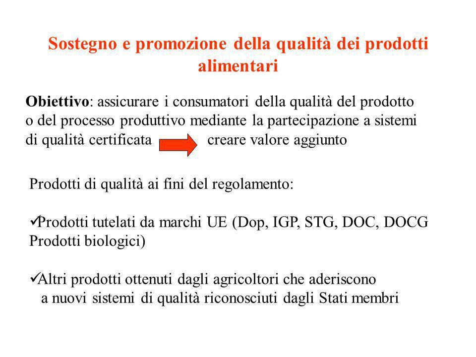 Sostegno e promozione della qualità dei prodotti alimentari Strumenti: contributo massimo di 3000 euro per azienda per anno, per un massimo di cinque anni; Cofinanziamento dellattività di informazione dei consumatori, di promozione e di pubblicità (70% massimo dei costi ammissibili)
