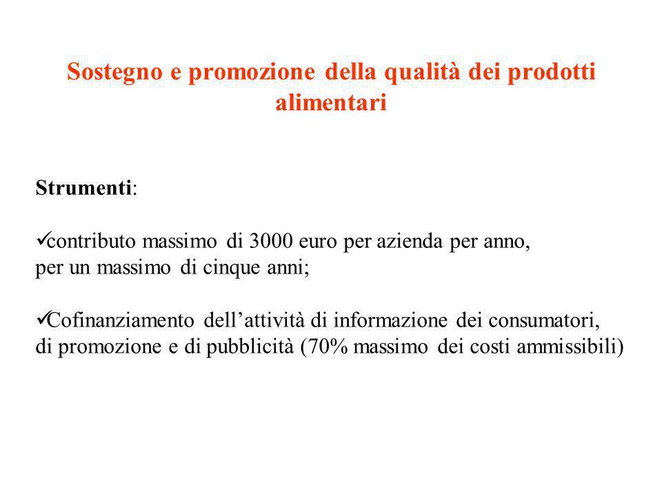 Sostegno e promozione della qualità dei prodotti alimentari Strumenti: contributo massimo di 3000 euro per azienda per anno, per un massimo di cinque