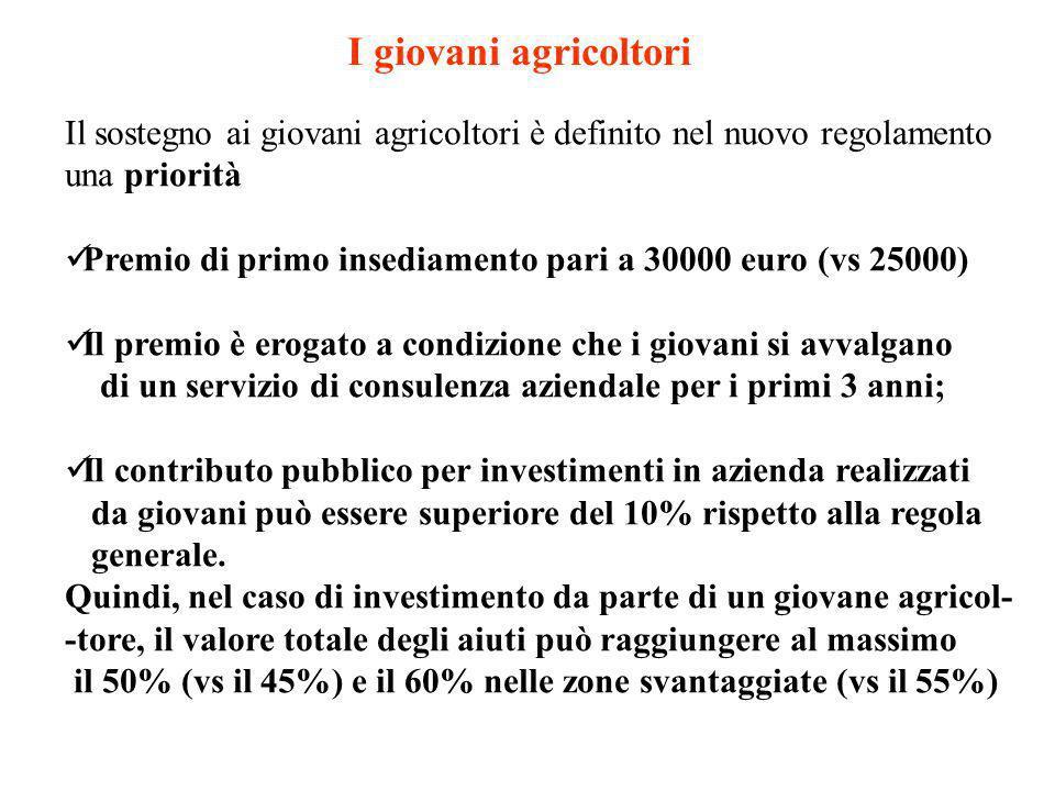 I giovani agricoltori Il sostegno ai giovani agricoltori è definito nel nuovo regolamento una priorità Premio di primo insediamento pari a 30000 euro