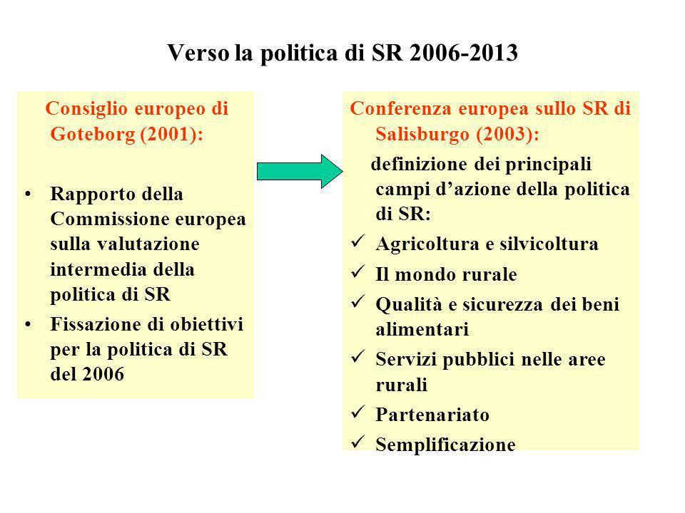 Verso la politica di SR 2006-2013 Consiglio europeo di Goteborg (2001): Rapporto della Commissione europea sulla valutazione intermedia della politica