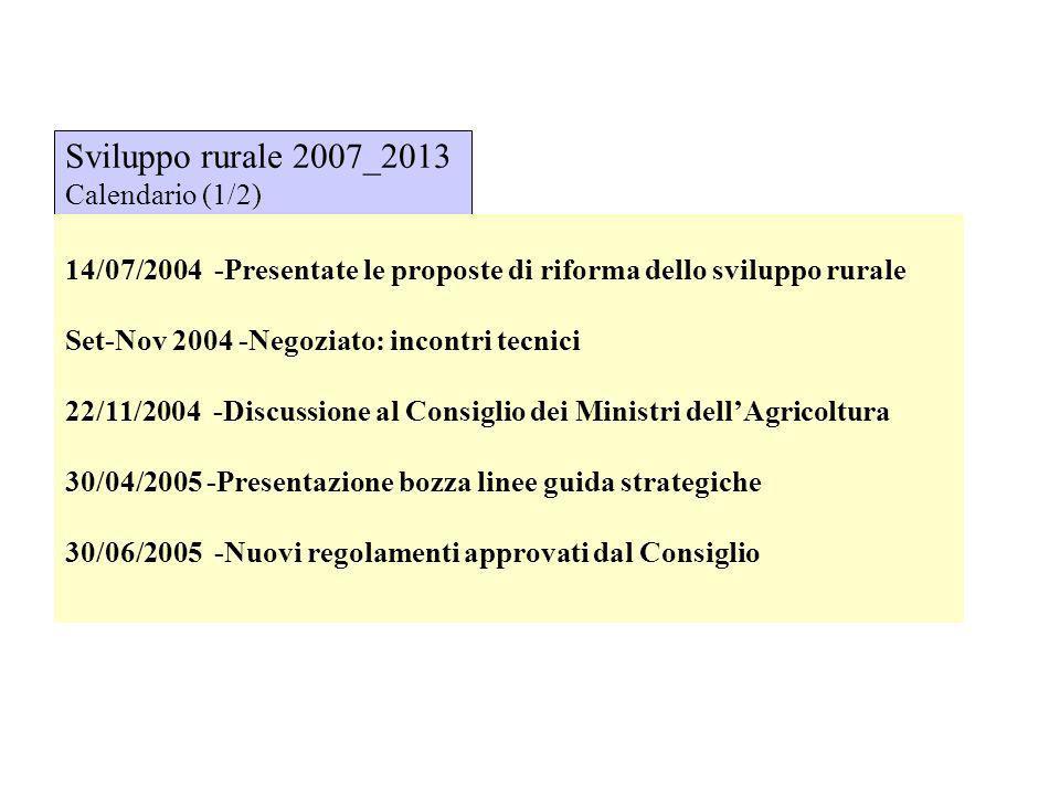 Sviluppo rurale 2007_2013 Calendario (1/2) 14/07/2004 -Presentate le proposte di riforma dello sviluppo rurale Set-Nov 2004 -Negoziato: incontri tecni