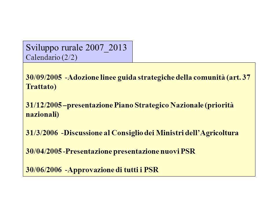 30/09/2005 -Adozione linee guida strategiche della comunità (art. 37 Trattato) 31/12/2005 –presentazione Piano Strategico Nazionale (priorità nazional