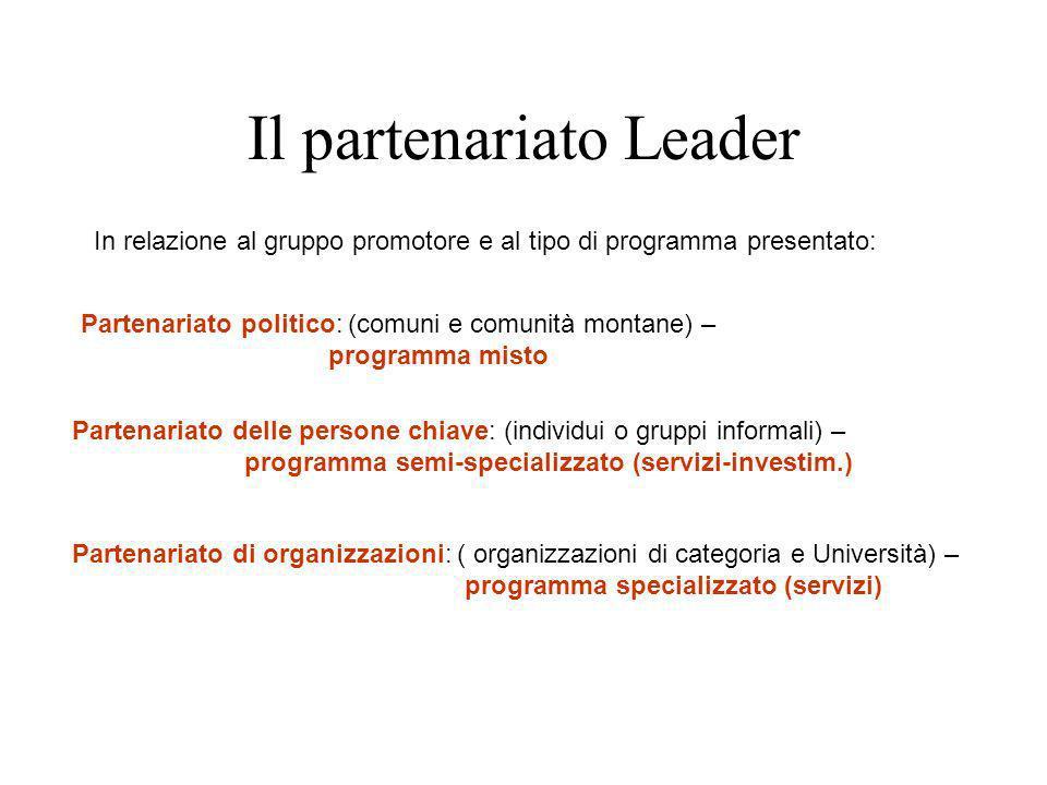 Il partenariato Leader Partenariato politico: (comuni e comunità montane) – programma misto Partenariato delle persone chiave: (individui o gruppi inf