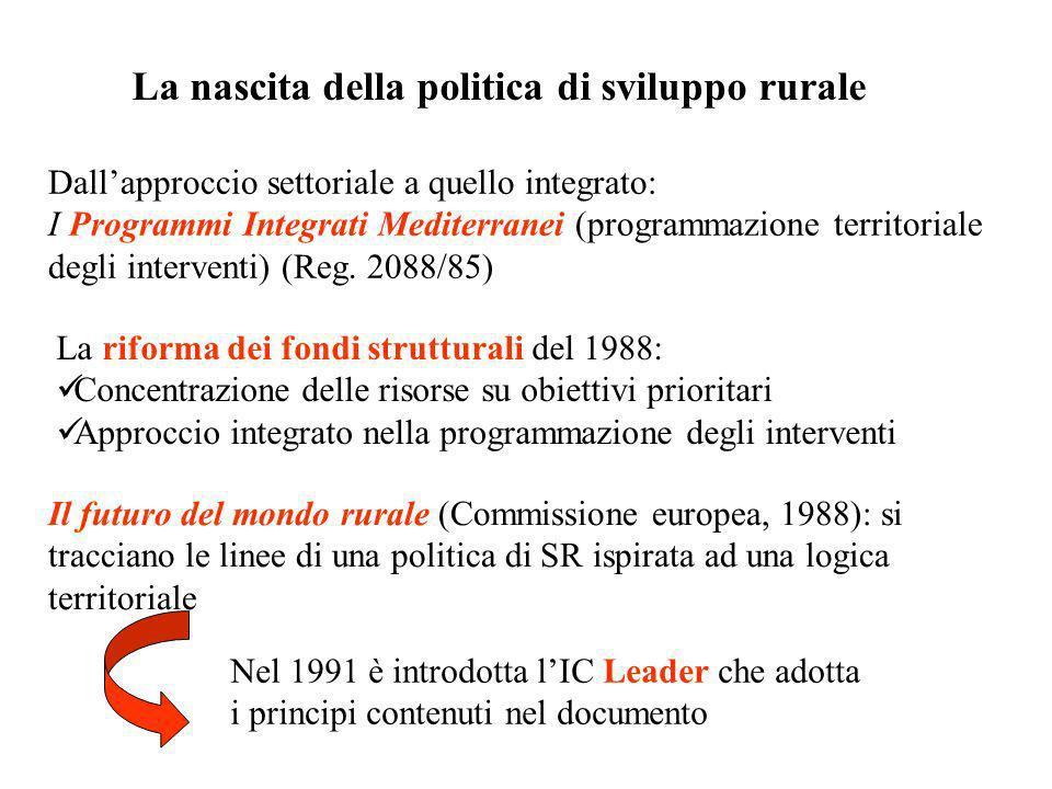 La nascita della politica di sviluppo rurale Dallapproccio settoriale a quello integrato: I Programmi Integrati Mediterranei (programmazione territori