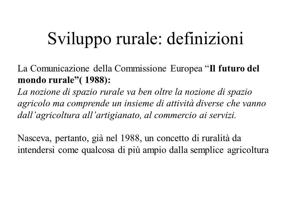 Sviluppo rurale: definizioni La Comunicazione della Commissione Europea Il futuro del mondo rurale( 1988): La nozione di spazio rurale va ben oltre la