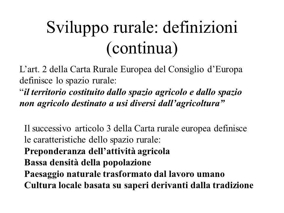 Sviluppo rurale: definizioni (continua) Lart. 2 della Carta Rurale Europea del Consiglio dEuropa definisce lo spazio rurale: il territorio costituito
