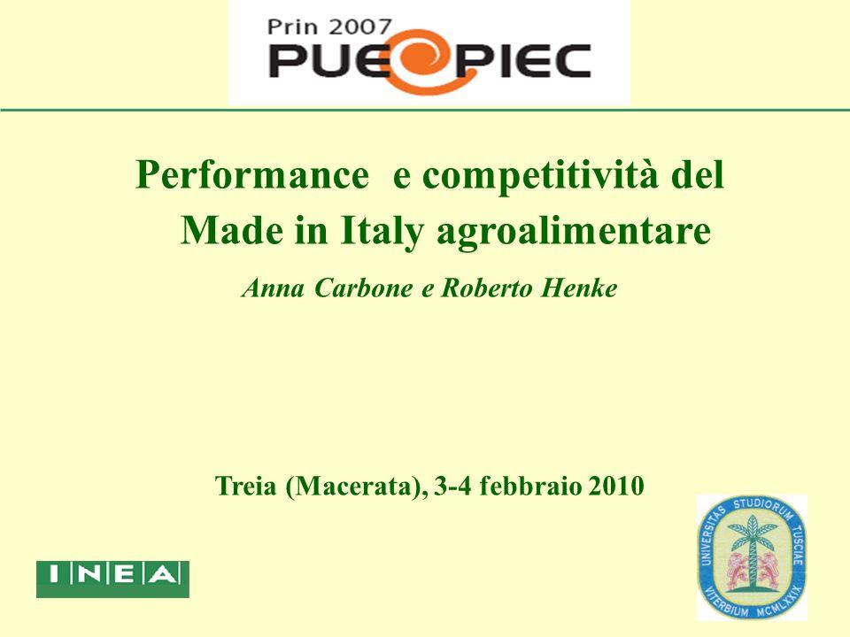 Performance e competitività del Made in Italy agroalimentare Anna Carbone e Roberto Henke Treia (Macerata), 3-4 febbraio 2010