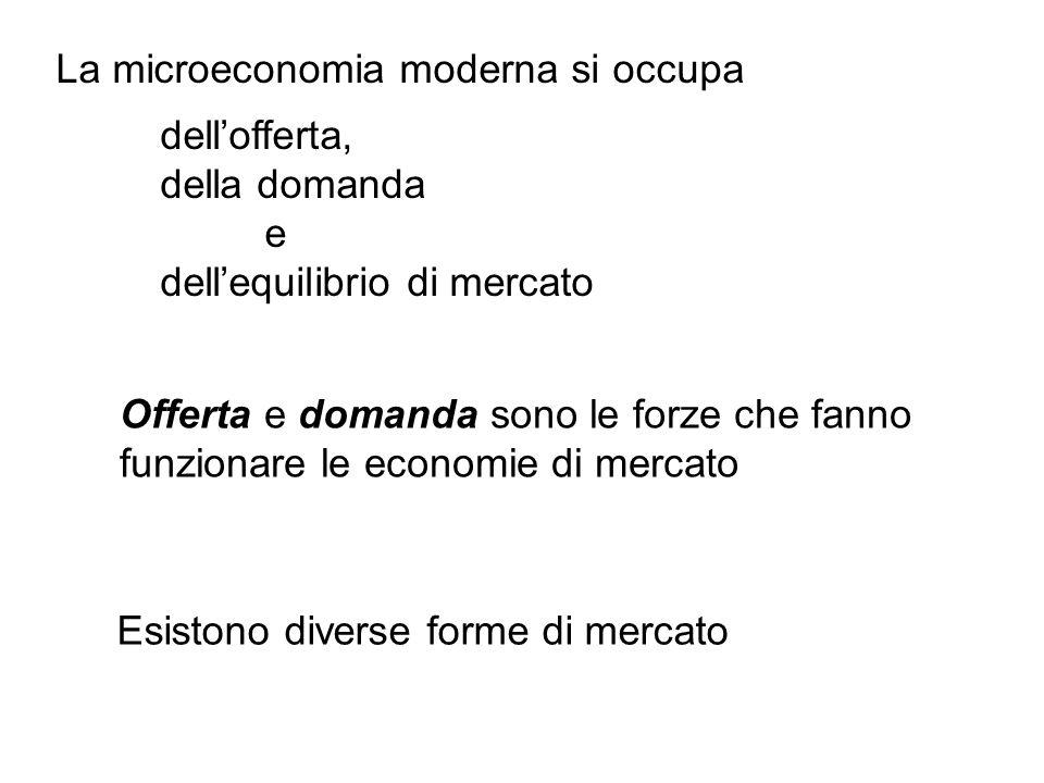 Esistono diverse forme di mercato Offerta e domanda sono le forze che fanno funzionare le economie di mercato La microeconomia moderna si occupa dello