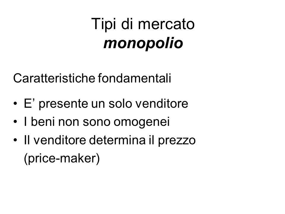 Tipi di mercato monopolio Caratteristiche fondamentali E presente un solo venditore I beni non sono omogenei Il venditore determina il prezzo (price-m