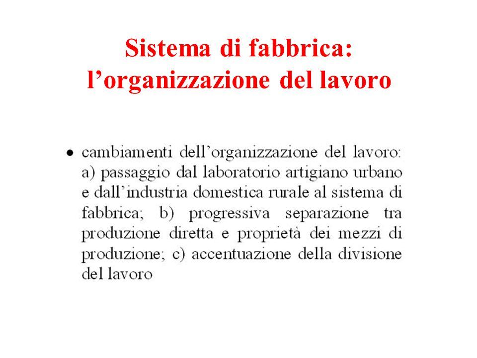 Sistema di fabbrica: lorganizzazione del lavoro