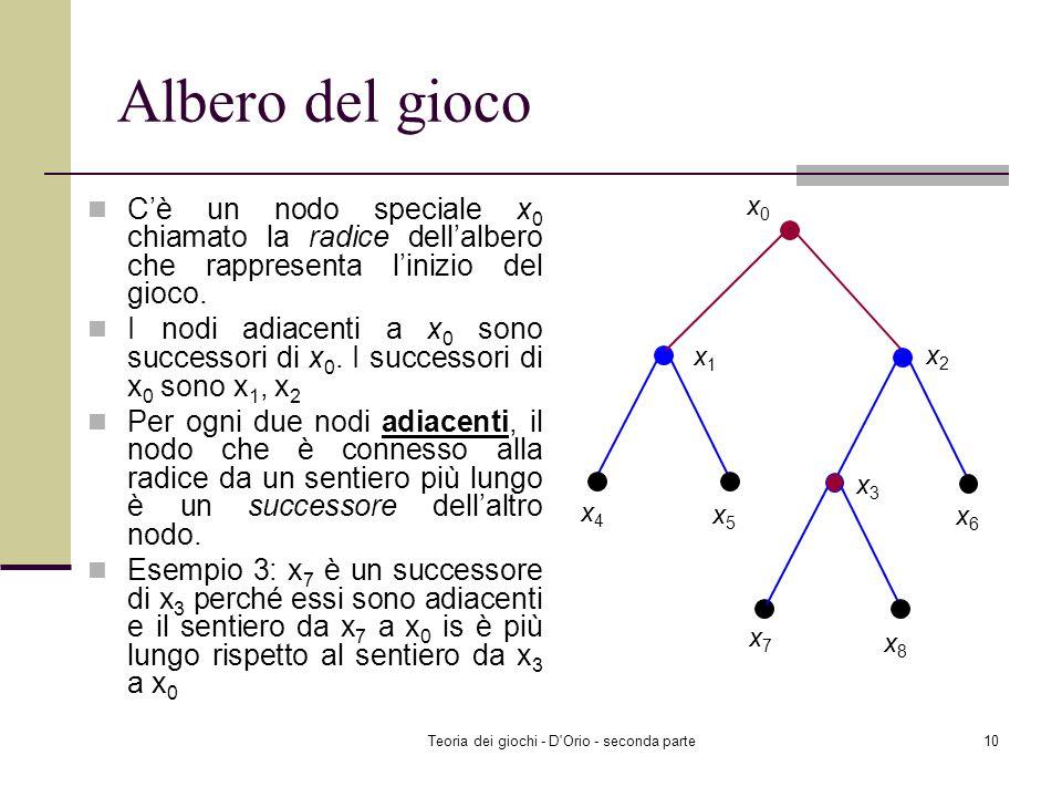 Teoria dei giochi - D'Orio - seconda parte9 Albero del gioco Un sentiero è una sequenza di nodi distinti y 1, y 2, y 3,..., y n-1, y n tale che y i e