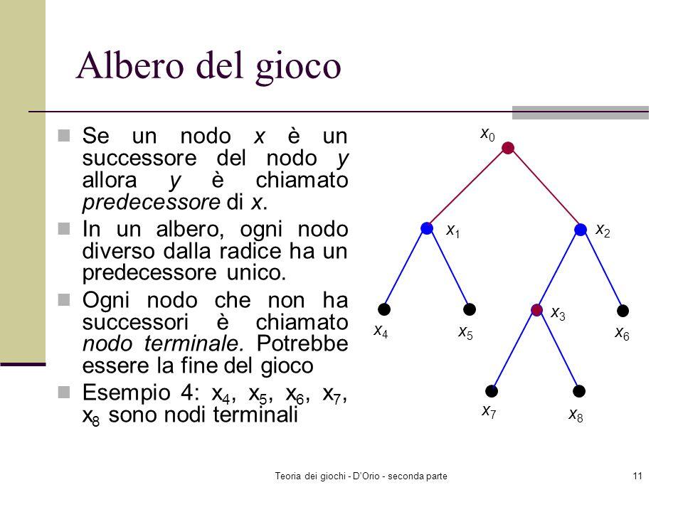 Teoria dei giochi - D'Orio - seconda parte10 Albero del gioco Cè un nodo speciale x 0 chiamato la radice dellalbero che rappresenta linizio del gioco.