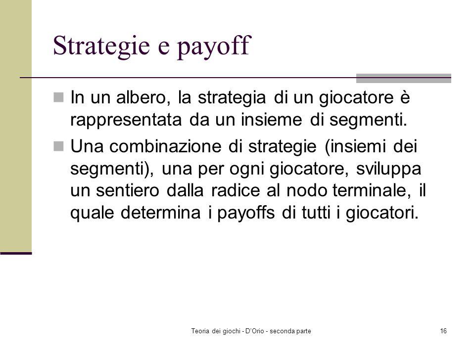 Teoria dei giochi - D'Orio - seconda parte15 Gioco dellentrata nel mercato Strategie del Challenger In Out Strategie dellIncumbent Accommodate (se il