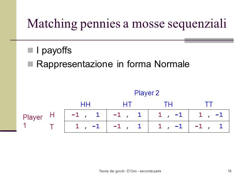 Teoria dei giochi - D'Orio - seconda parte17 Matching pennies a mosse sequenziali Strategie del giocatore 1 Head Tail Strategie del giocatore 2 H se p