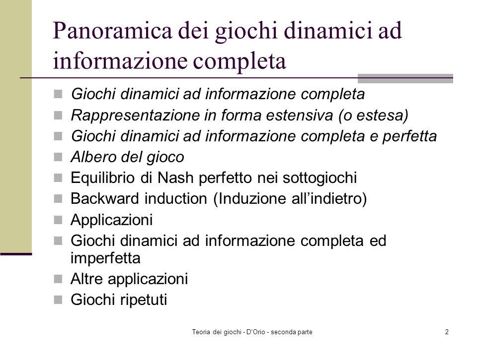 Teoria dei giochi - D'Orio - seconda parte1 Giochi dinamici ad informazione completa Corso di Teoria dei Giochi Laurea specialistica in Economia Appli