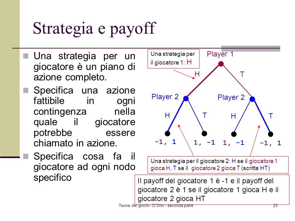 Teoria dei giochi - D'Orio - seconda parte22 Riassunto Giochi dinamici ad informazione completa e perfetta Rappresentazione dei giochi in forma estesa
