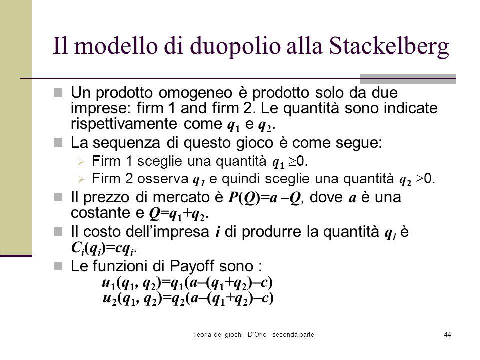 Teoria dei giochi - D'Orio - seconda parte43 SNE multipli: esempio SNE (D, FIK). Il giocatore 1 gioca D; Il giocatore 2 gioca F se il giocatore 1 gioc