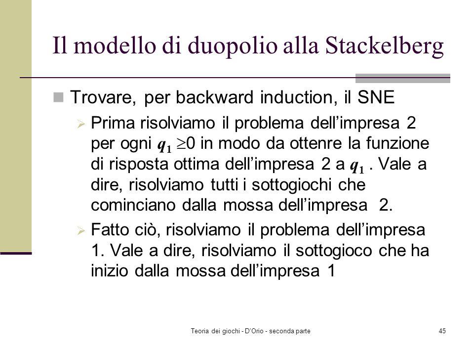 Teoria dei giochi - D'Orio - seconda parte44 Il modello di duopolio alla Stackelberg Un prodotto omogeneo è prodotto solo da due imprese: firm 1 and f
