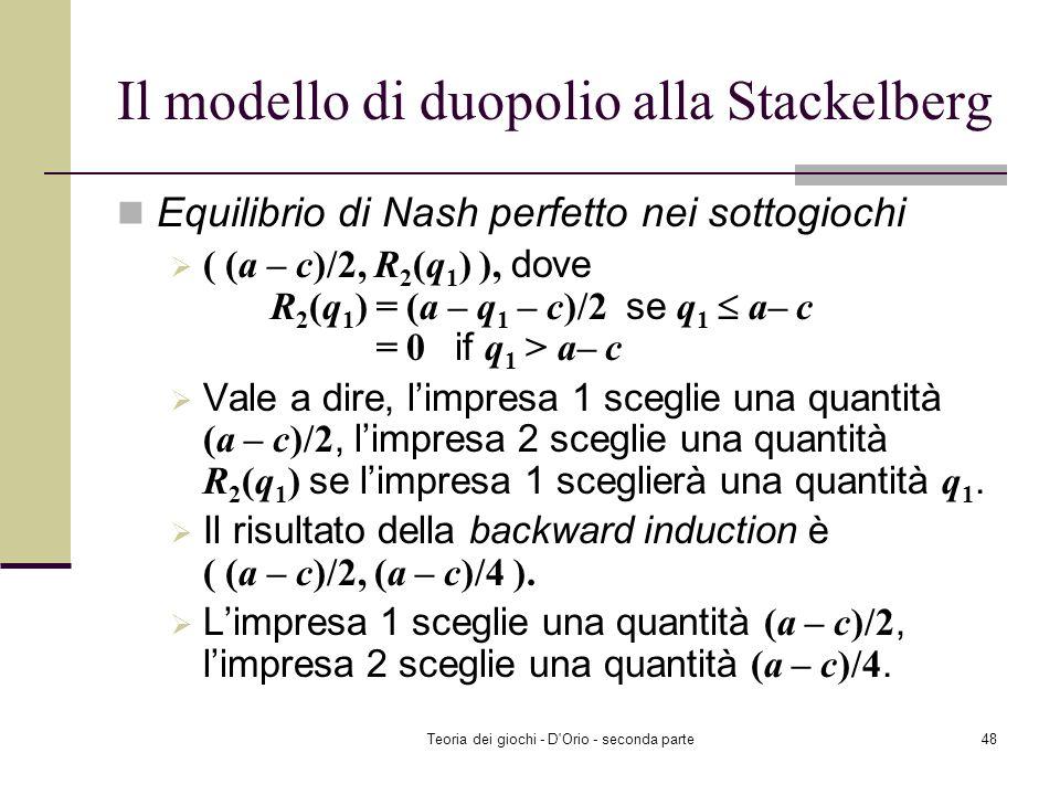 Teoria dei giochi - D'Orio - seconda parte47 Il modello di duopolio alla Stackelberg Risolvere il problema dellimpresa 1. Notate che limpresa 1 può ri