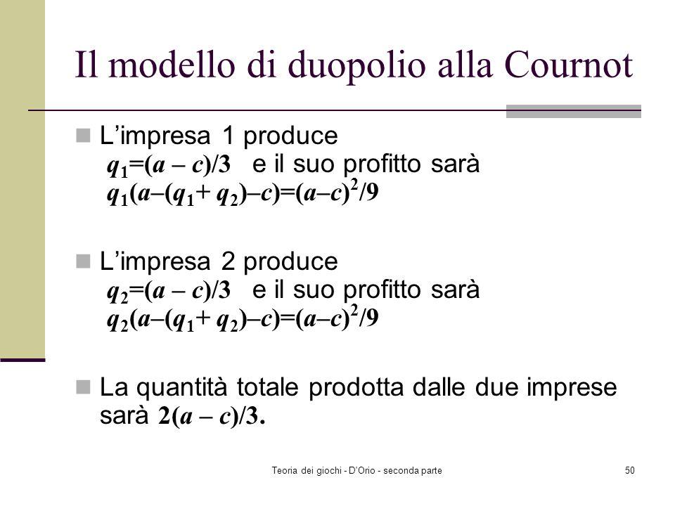 Teoria dei giochi - D'Orio - seconda parte49 Il modello di duopolio alla Stackelberg Limpresa 1 produrrà q 1 =(a – c)/2 e il suo profitto sarà q 1 (a–