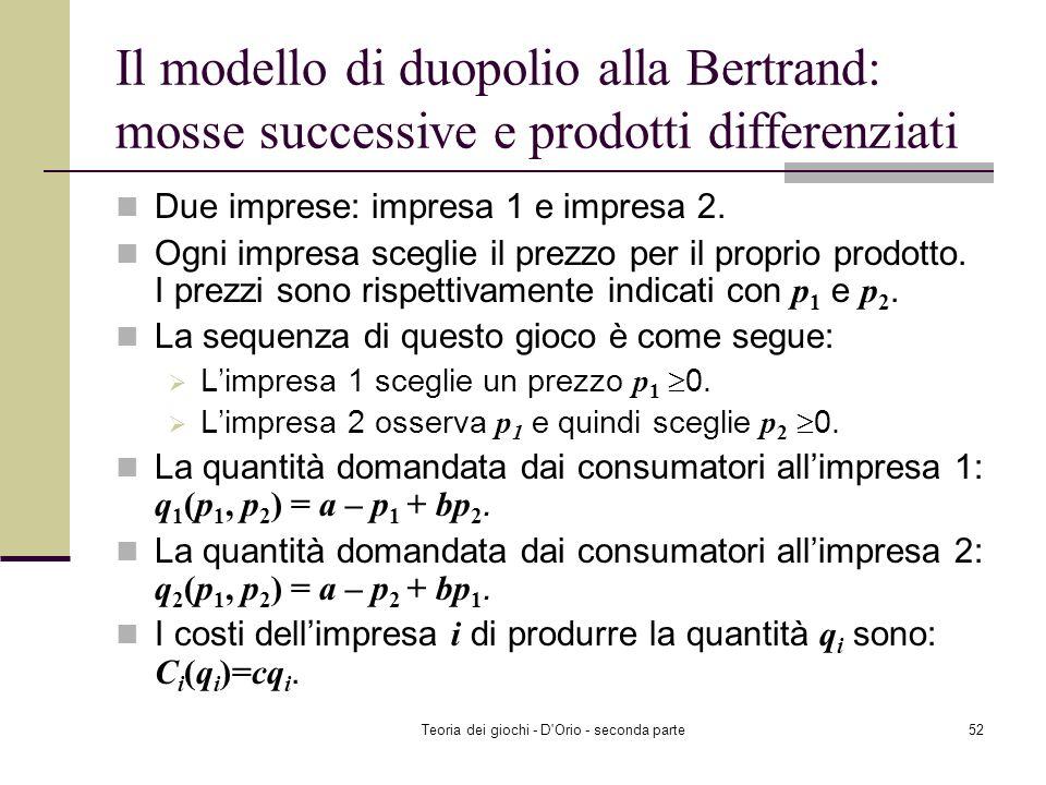 Teoria dei giochi - D'Orio - seconda parte51 Il monopolio Supponiate che ci sia una sola impresa, un monopolio, che produce il prodotto. Il monopolist