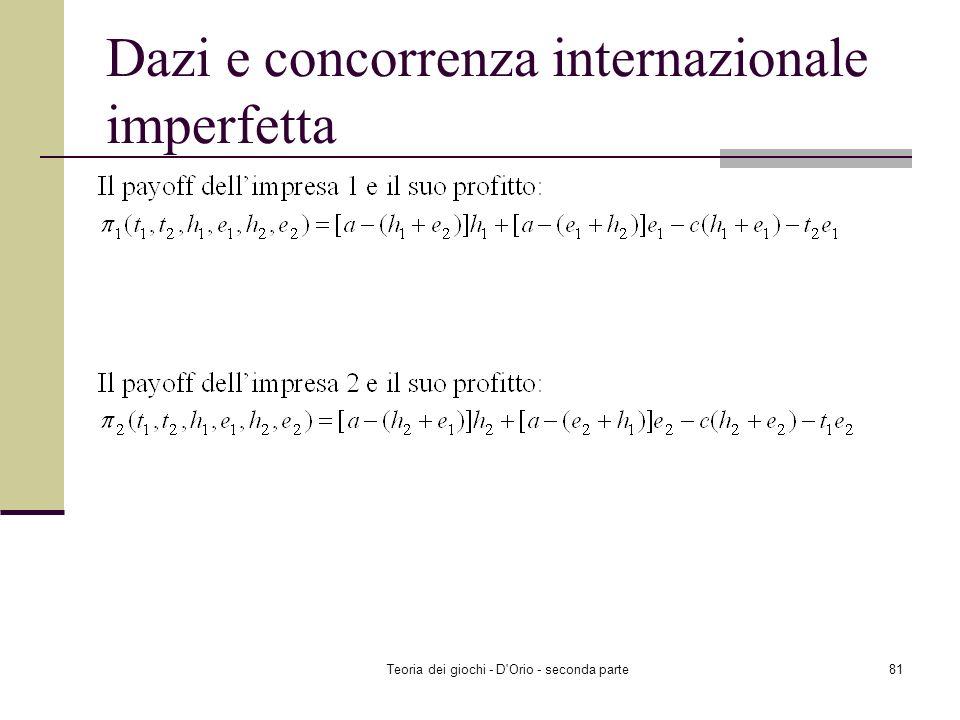 Teoria dei giochi - D'Orio - seconda parte80 Dazi e concorrenza internazionale imperfetta Due nazioni identiche, 1 e 2, scelgono simultaneamente i pro