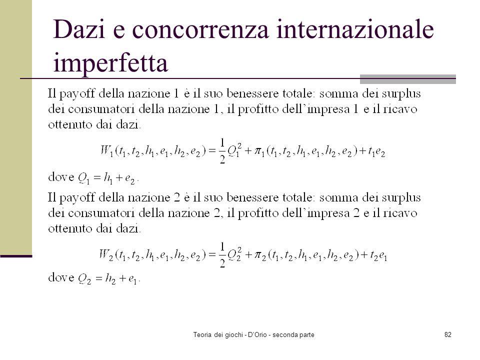 Teoria dei giochi - D'Orio - seconda parte81 Dazi e concorrenza internazionale imperfetta