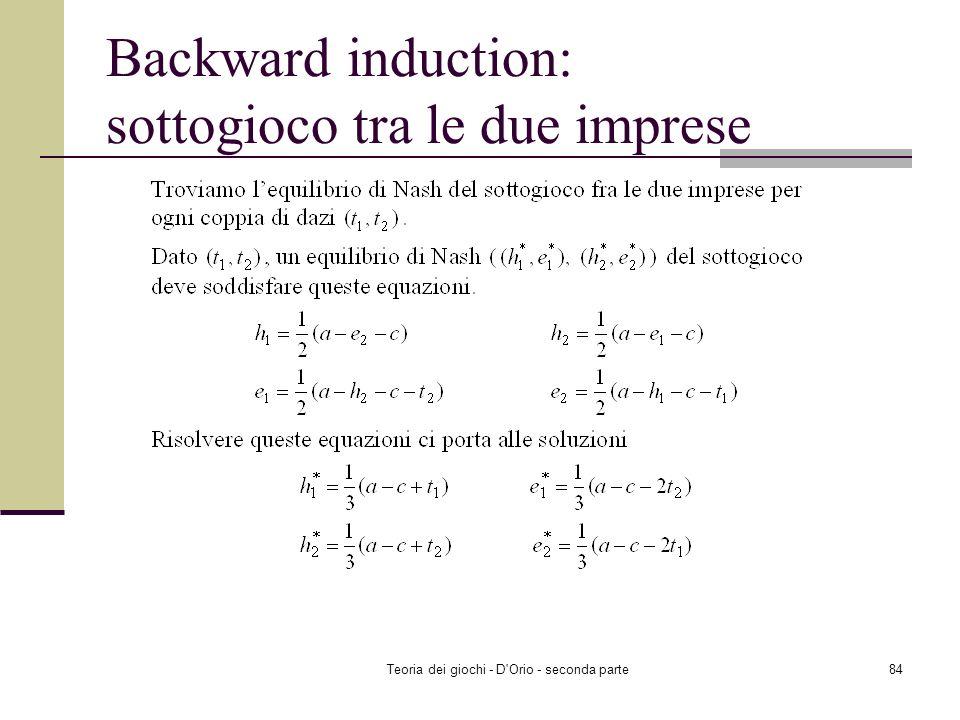 Teoria dei giochi - D'Orio - seconda parte83 Backward induction: sottogioco tra le due imprese