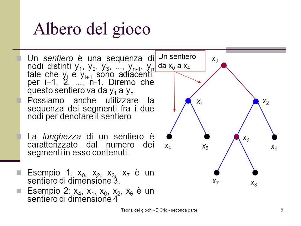 Teoria dei giochi - D Orio - seconda parte9 Albero del gioco Un sentiero è una sequenza di nodi distinti y 1, y 2, y 3,..., y n-1, y n tale che y i e y i+1 sono adiacenti, per i=1, 2,..., n-1.
