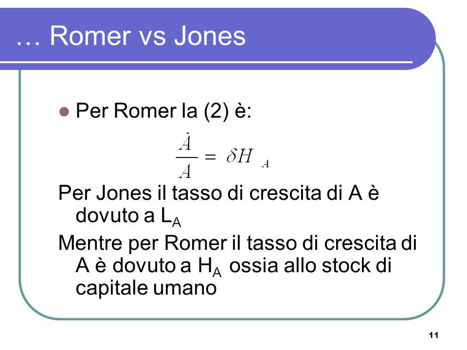11 … Romer vs Jones Per Romer la (2) è: Per Jones il tasso di crescita di A è dovuto a L A Mentre per Romer il tasso di crescita di A è dovuto a H A ossia allo stock di capitale umano